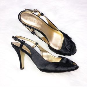 J. Crew Italy Black Satin Heel Shoes Size 6